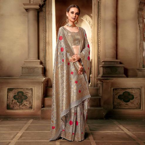 Fantastic Gray Colored Festive Wear Woven Cotton Silk Saree