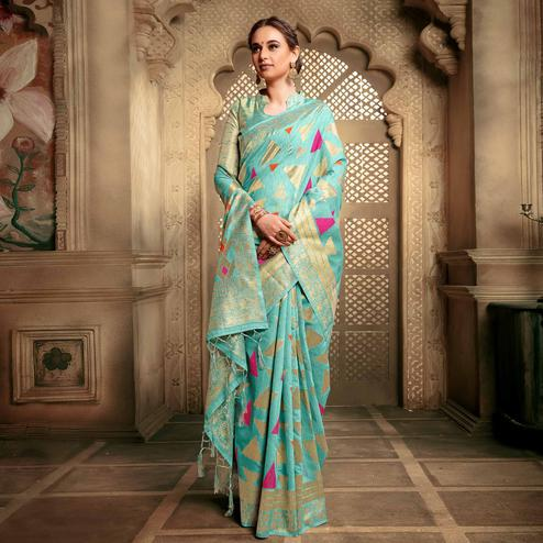 Amazing Sky Blue Colored Festive Wear Woven Cotton Silk Saree