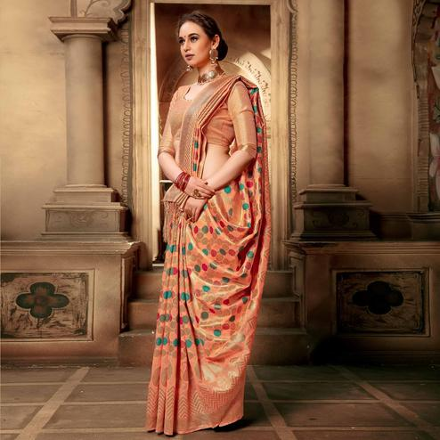 Gorgeous Peach Colored Festive Wear Woven Cotton Silk Saree