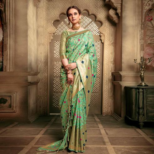 Blissful Sea Green Colored Festive Wear Woven Cotton Silk Saree