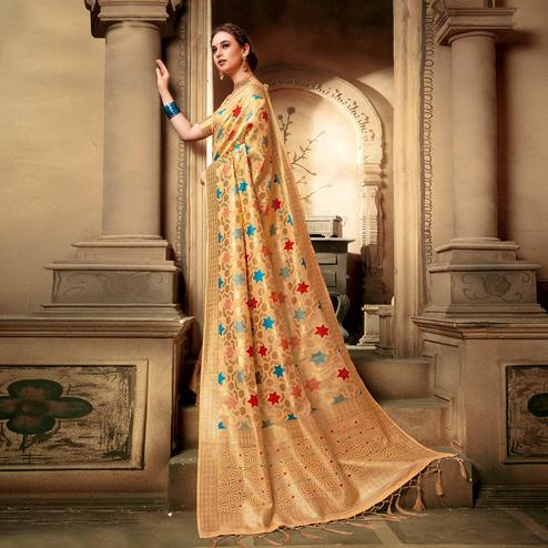 Ideal Light Yellow Colored Festive Wear Woven Cotton Silk Saree