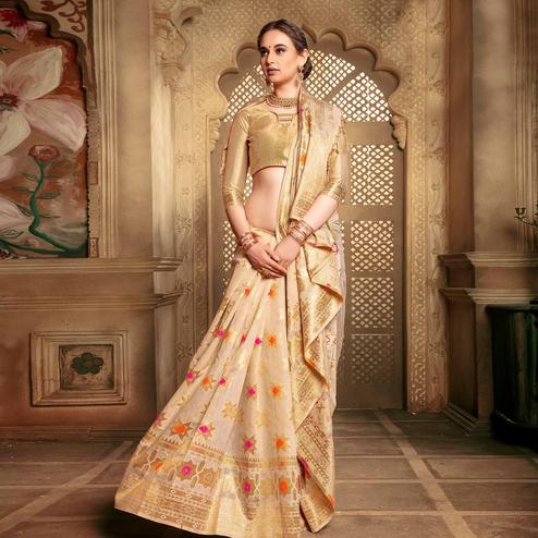 Imposing Cream Colored Festive Wear Woven Cotton Silk Saree