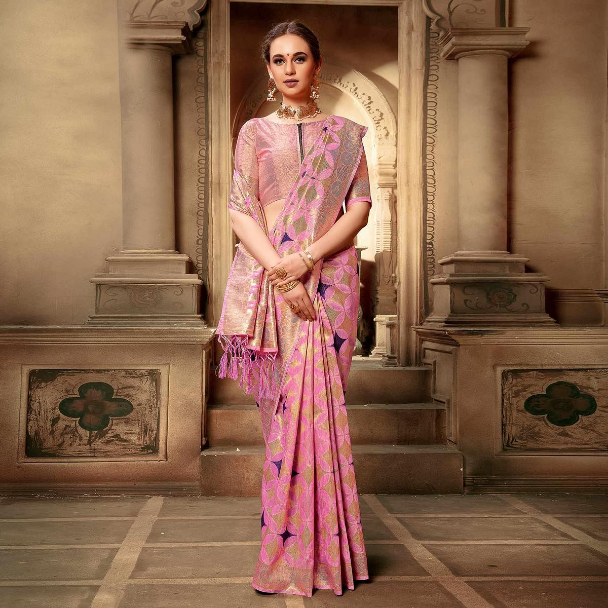 Lovely Pink Colored Festive Wear Woven Cotton Silk Saree