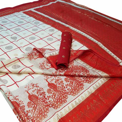 Majesty White Colored Festive Wear Foil Printed Silk Saree
