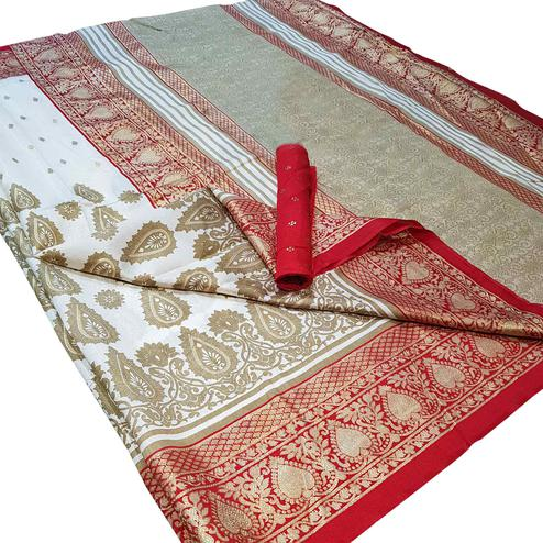 Impressive White Colored Festive Wear Foil Printed Silk Saree