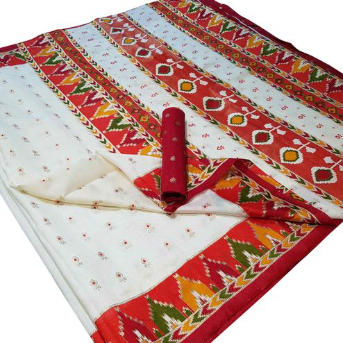 Mesmerising White Colored Festive Wear Foil Printed Silk Saree
