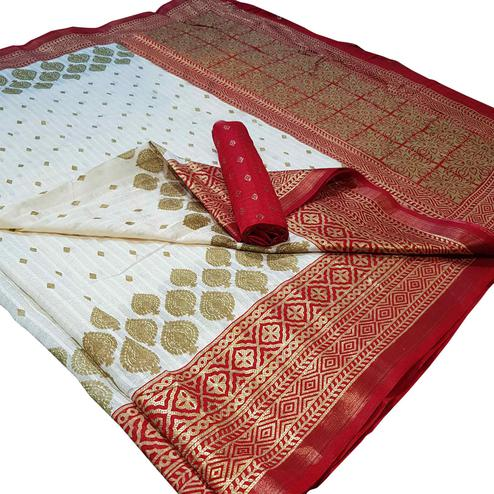 Pleasance White Colored Festive Wear Foil Printed Silk Saree
