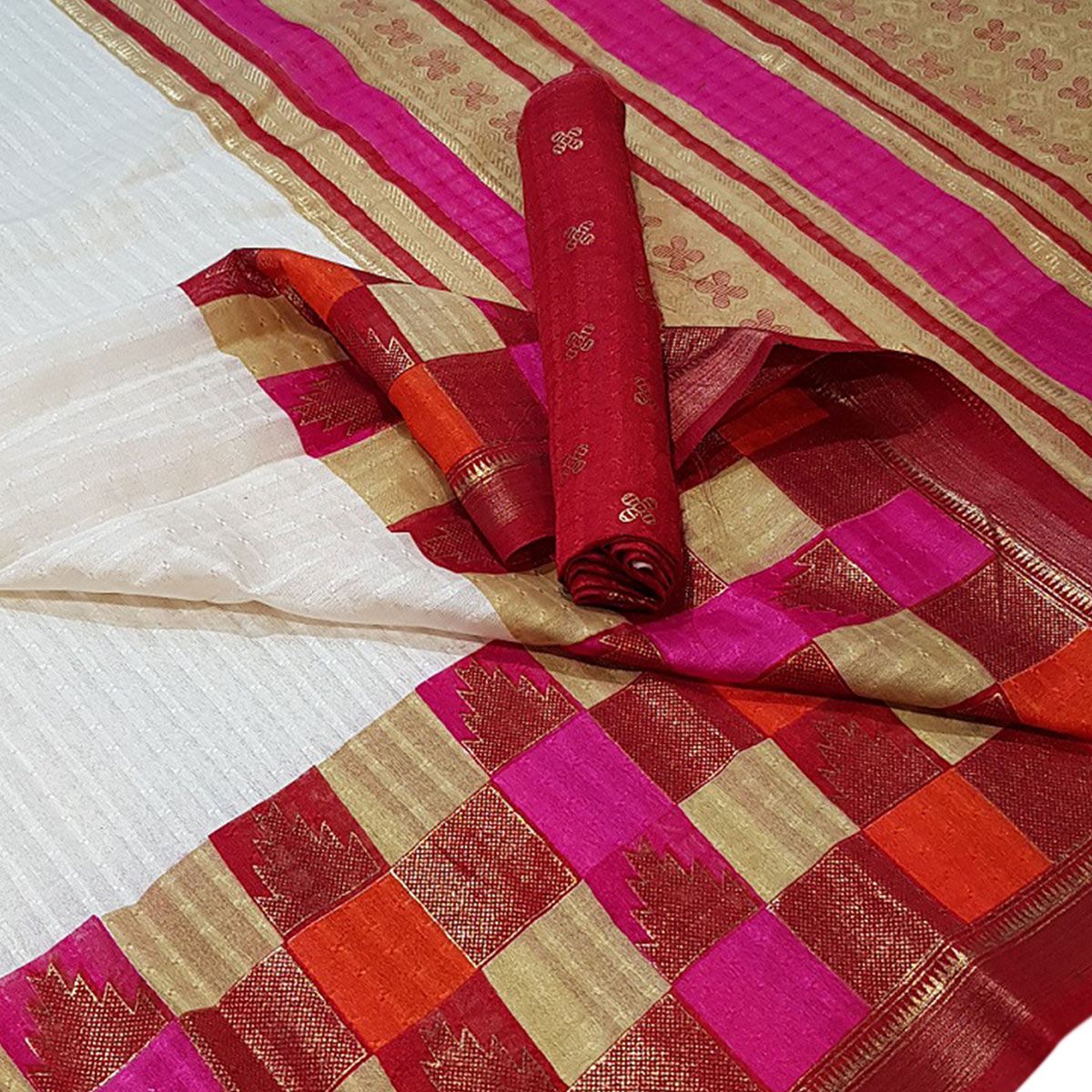 Surpassing White Colored Festive Wear Foil Printed Silk Saree