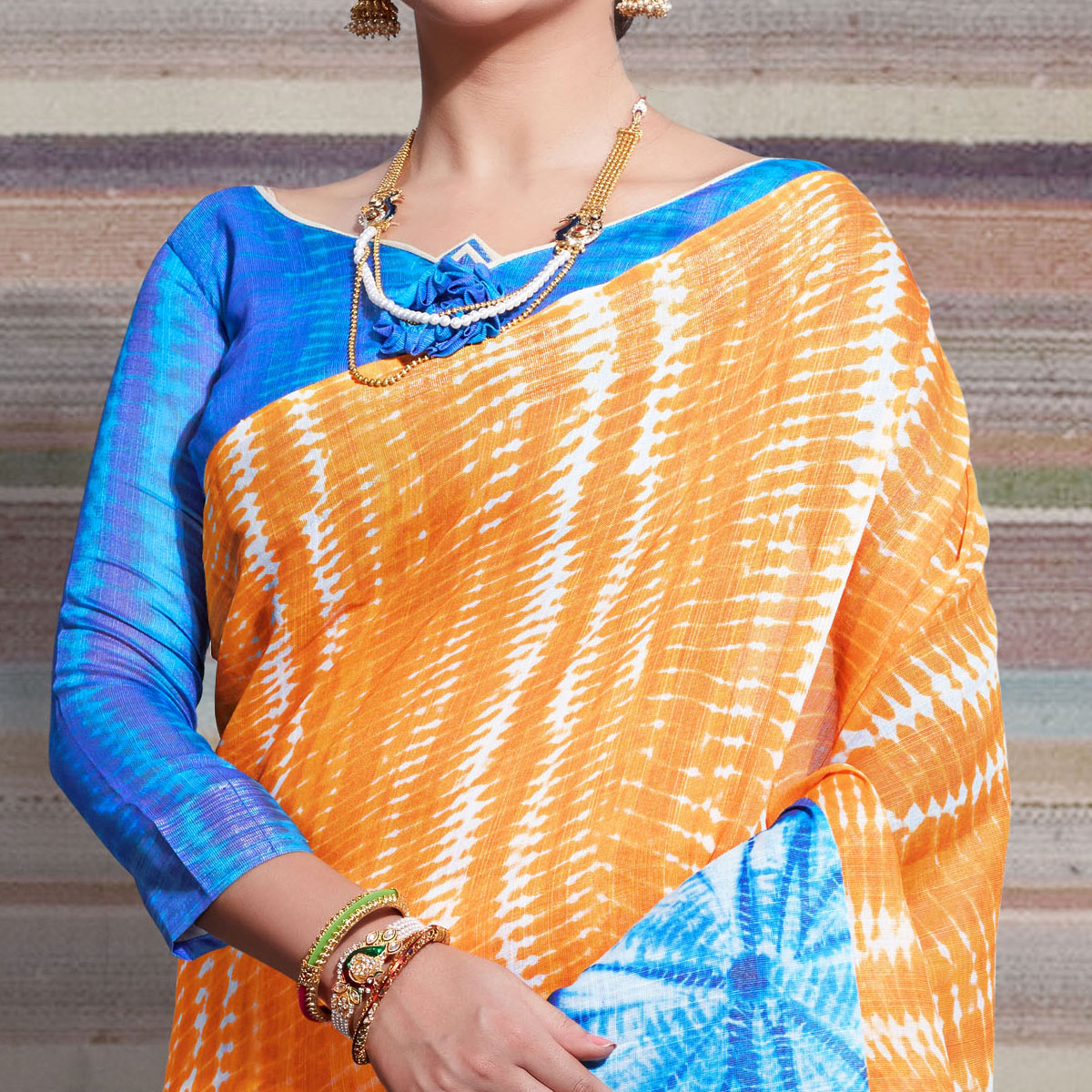 Glorious Light Orange Colored Casual Digital Printed Linen Saree