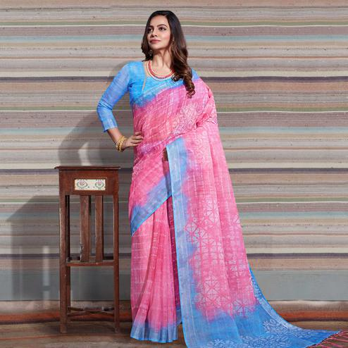 Attractive Pink Colored Casual Digital Printed Linen Saree