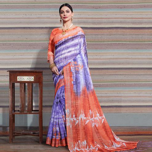 Graceful Purple Colored Casual Digital Printed Linen Saree