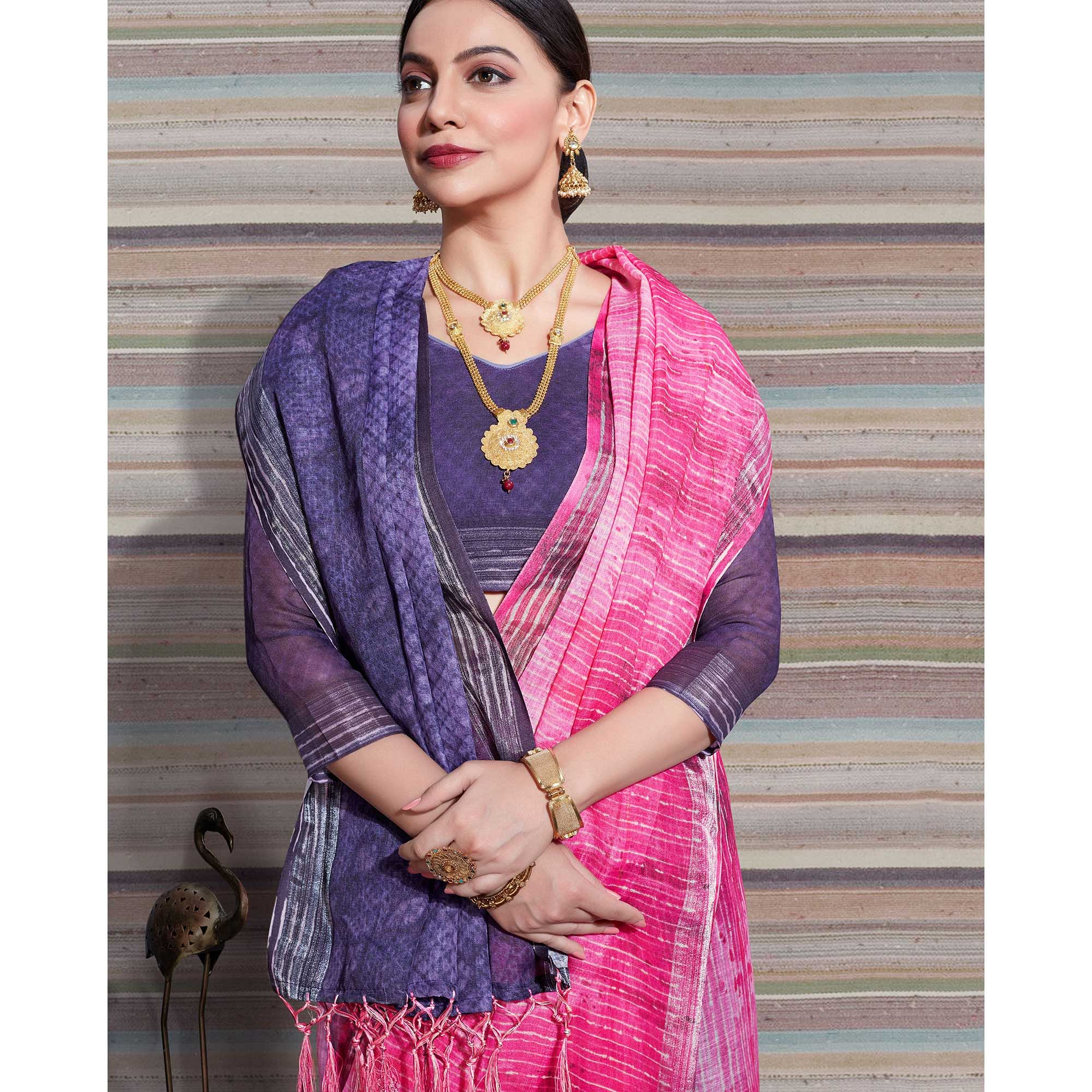 Charming Pink Colored Casual Digital Printed Linen Saree
