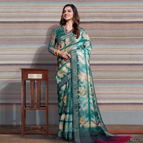 Jazzy Green-Beige Colored Casual Digital Printed Linen Saree