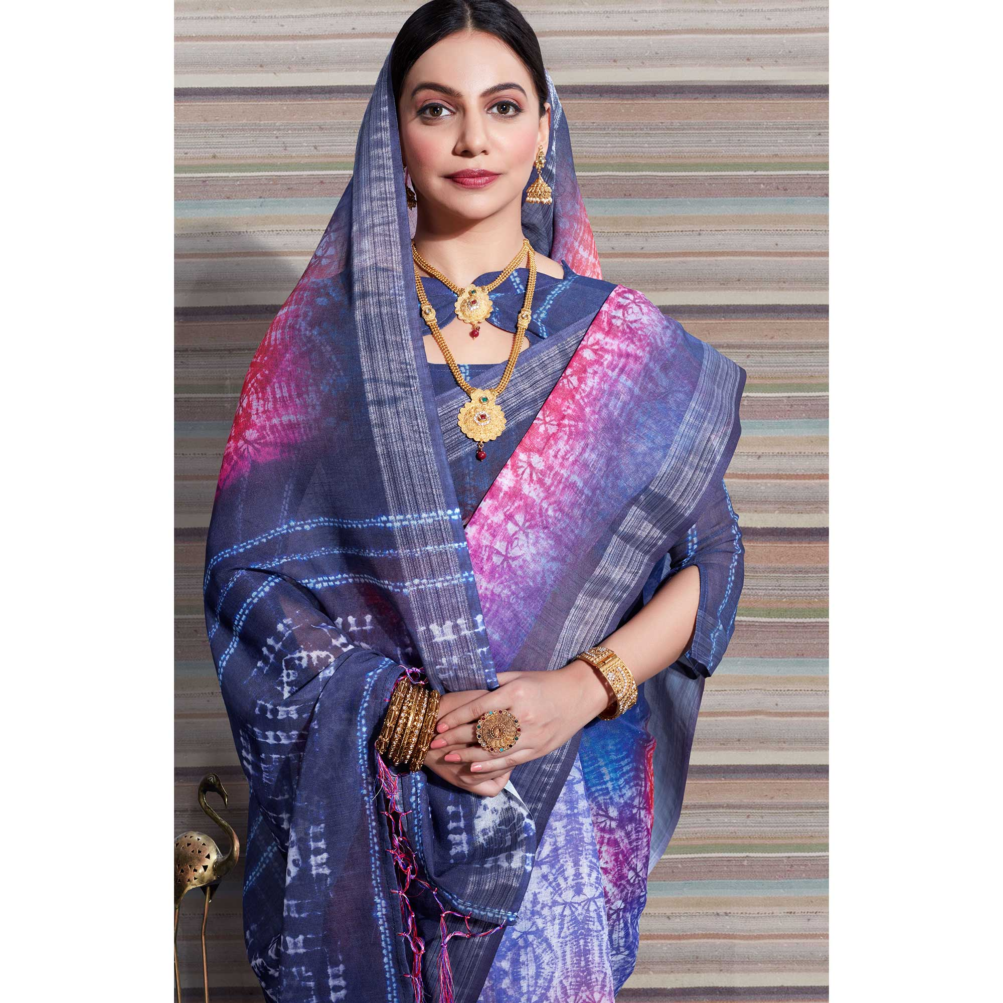 Delightful Multi Colored Casual Digital Printed Linen Saree