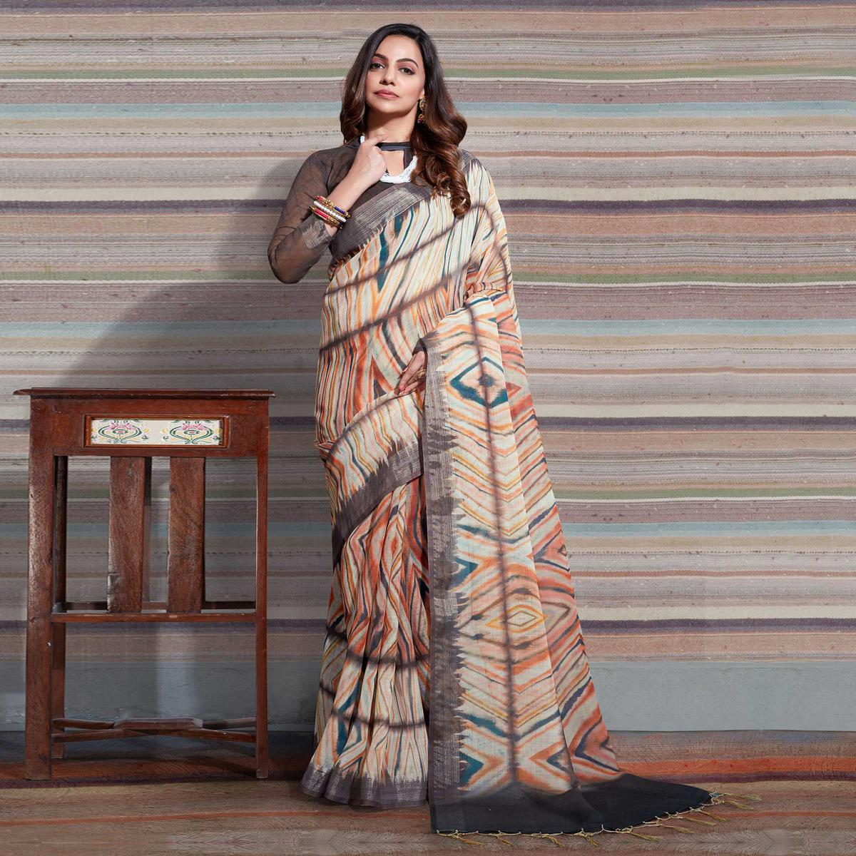 Captivating Cream Colored Casual Digital Printed Linen Saree