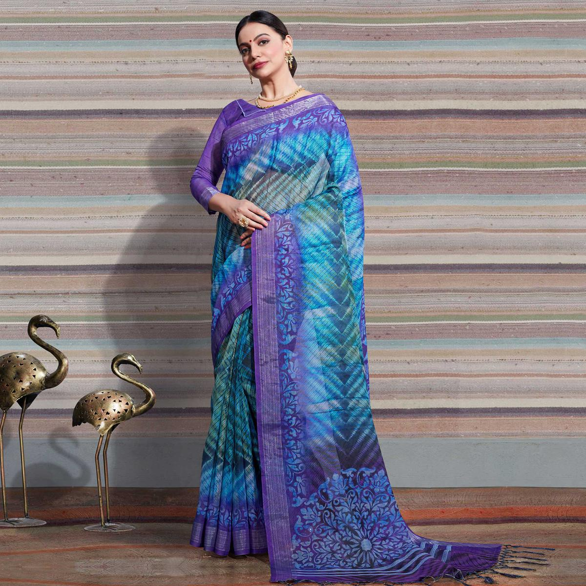 Eye-catching Multi Colored Casual Digital Printed Linen Saree