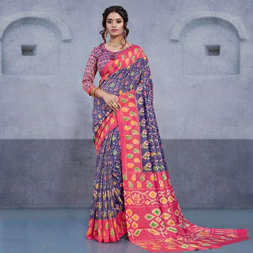 Fantastic Purple Colored Casual Printed Art Silk Saree
