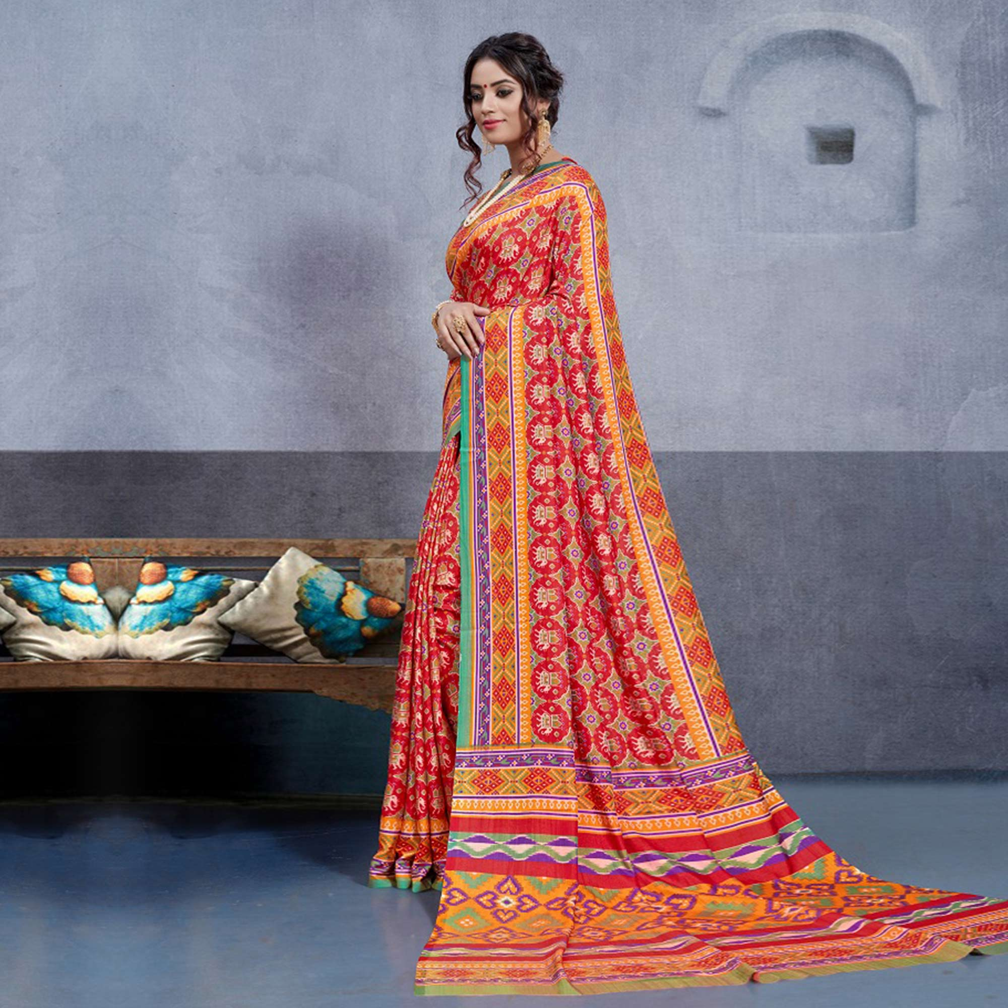 Gorgeous Red Colored Casual Printed Art Silk Saree