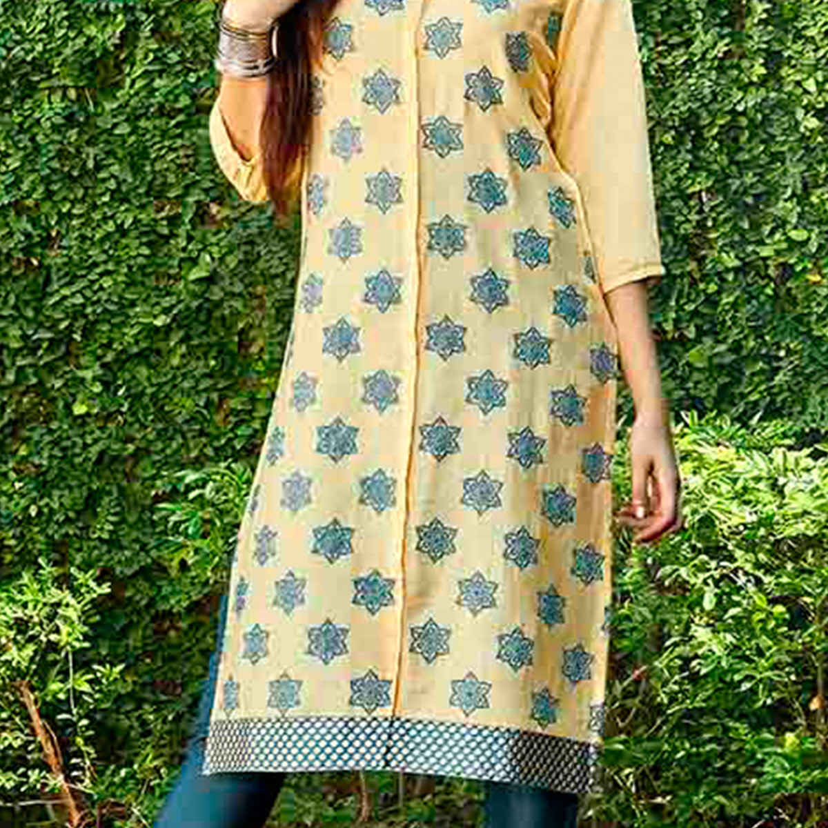 Light Yellow Floral Printed Kurti