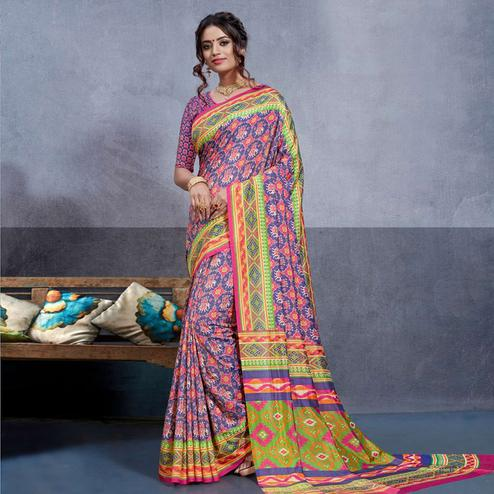 Blissful Purple-Pink Colored Casual Printed Art Silk Saree