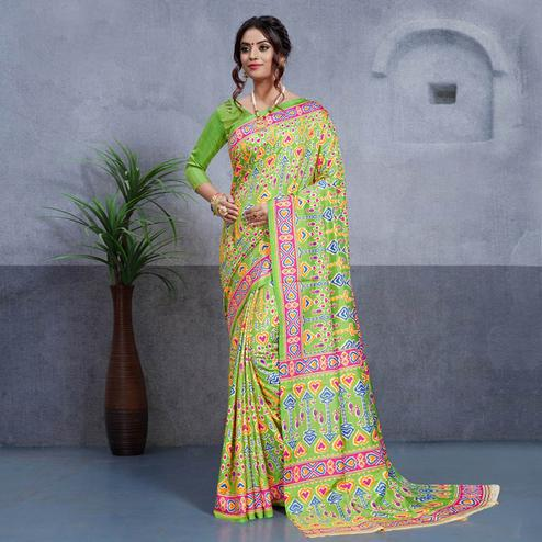 Imposing Green Colored Casual Printed Art Silk Saree