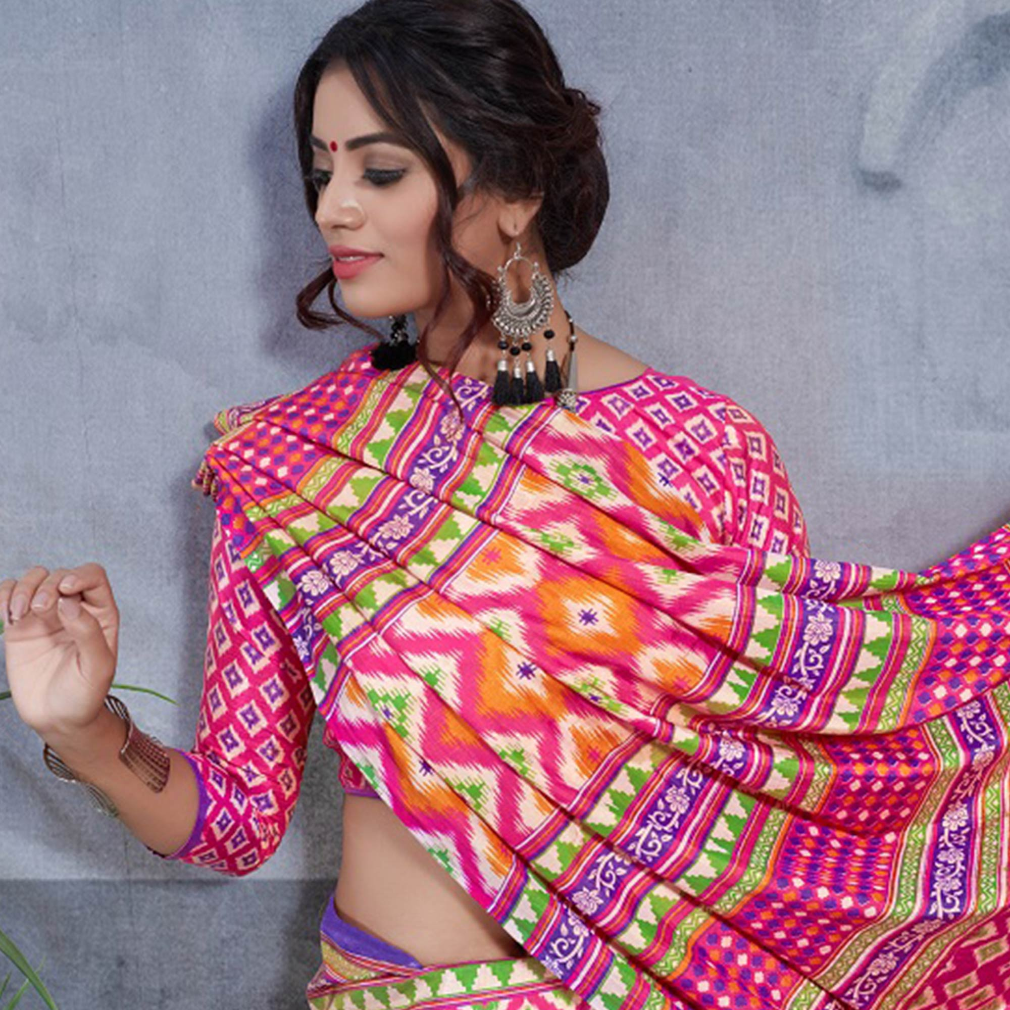 Lovely Pink Colored Casual Printed Art Silk Saree