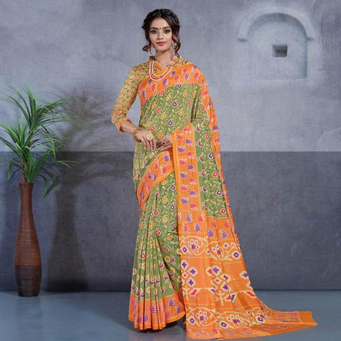 Impressive Green Colored Casual Printed Art Silk Saree