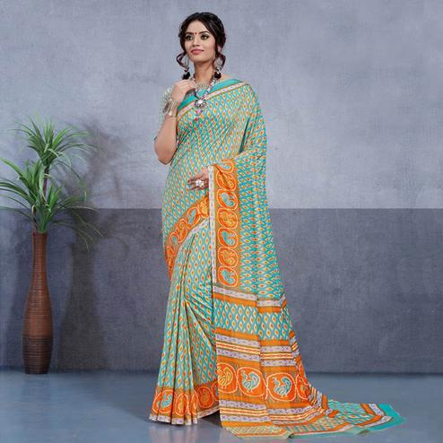 Pleasance Aqua Blue Colored Casual Printed Art Silk Saree