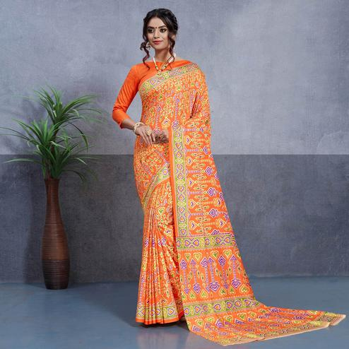 Breathtaking Orange Colored Casual Printed Art Silk Saree