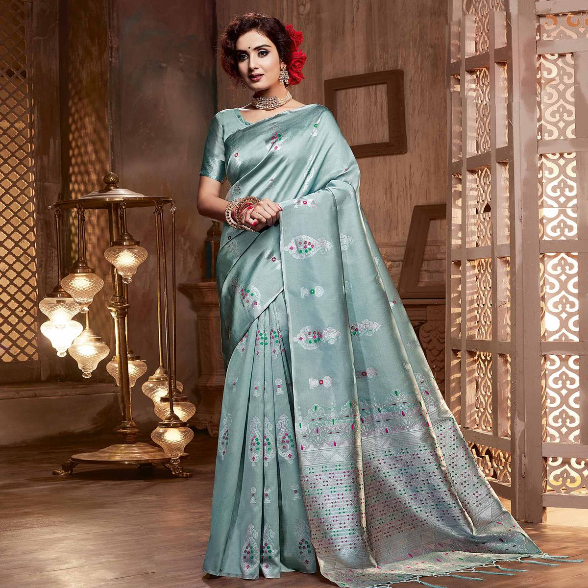 Beautiful Stone Blue Colored Festive Wear Woven Silk Saree