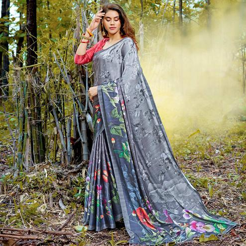 Intricate Gray Colored Casual Digital Printed Satin Crepe Saree