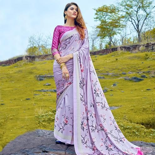 Arresting Lavender Colored Casual Digital Printed Satin Crepe Saree
