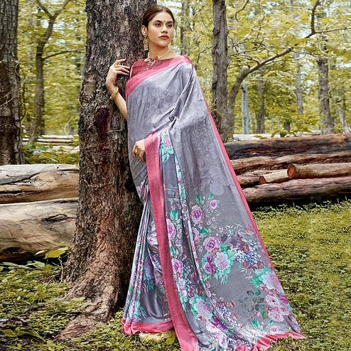 Desirable Gray Colored Casual Digital Printed Satin Crepe Saree