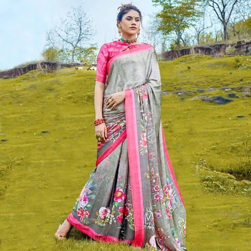 Exotic Gray Colored Casual Digital Printed Satin Crepe Saree