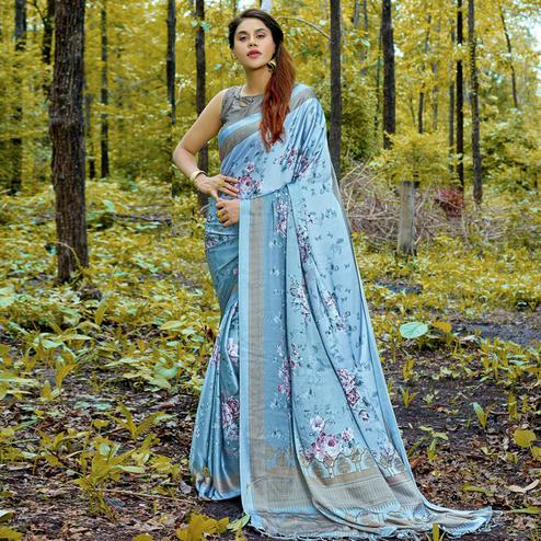 Sophisticated Light Blue Colored Casual Digital Printed Satin Crepe Saree