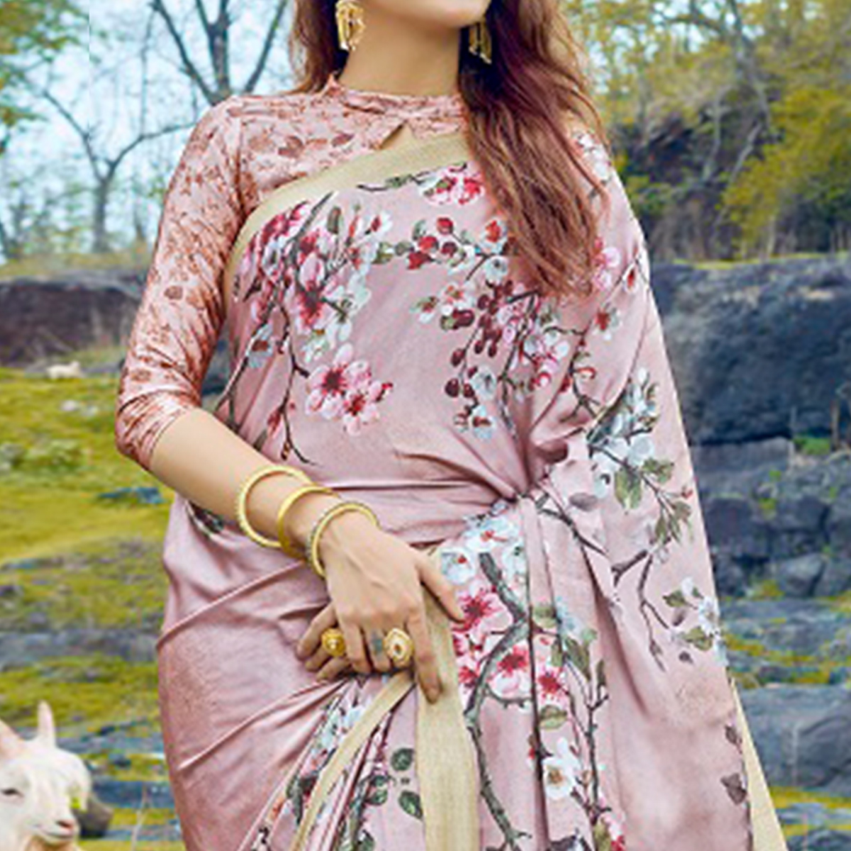 Trendy Light Mauve Colored Casual Digital Printed Satin Crepe Saree