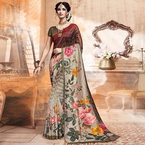 Opulent Beige-Brown Colored Casual Digital Printed Art Silk Saree