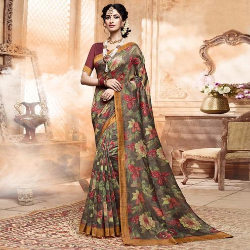 Energetic Gray Colored Casual Digital Printed Art Silk Saree