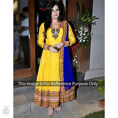Yellow Thread Embroidery & Patch Work Anarkali Suit