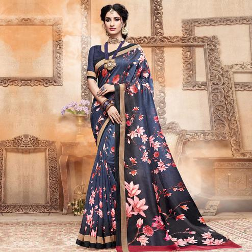 Exceptional Navy Blue Colored Casual Digital Printed Art Silk Saree