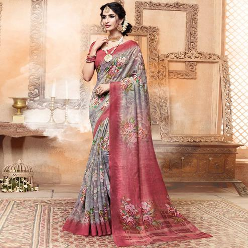 Gleaming Gray Colored Casual Digital Printed Art Silk Saree