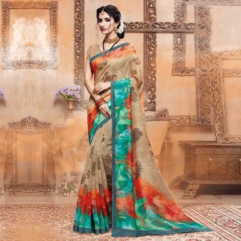 Mesmeric Beige Colored Casual Digital Printed Art Silk Saree