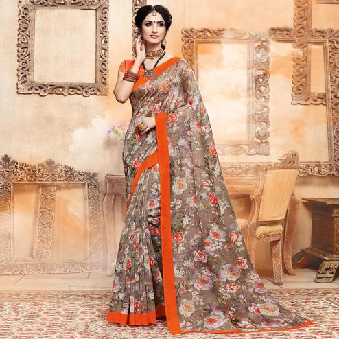 Unique Brown Colored Casual Digital Printed Art Silk Saree