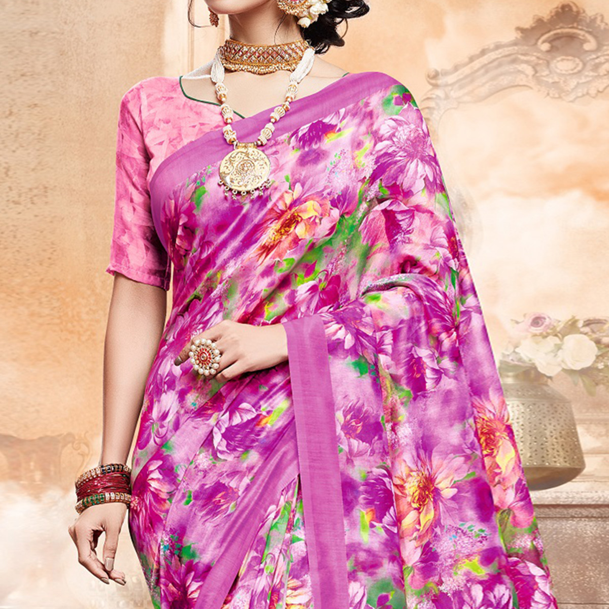 Demanding Pink Colored Casual Digital Printed Art Silk Saree