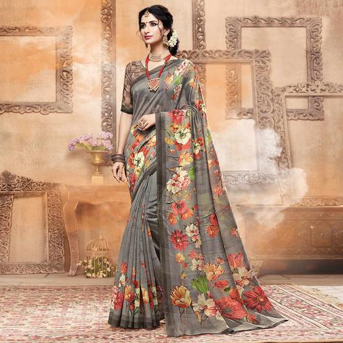 Refreshing Gray Colored Casual Digital Printed Art Silk Saree