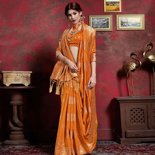 Flirty Mustard Yellow Colored Festive Wear Woven Silk Saree