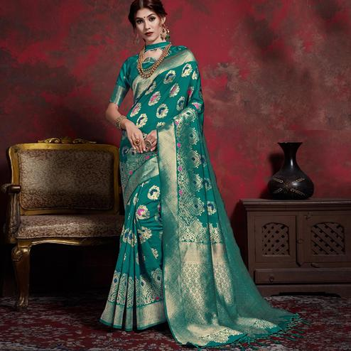Adorning Teal Green Colored Festive Wear Woven Silk Saree