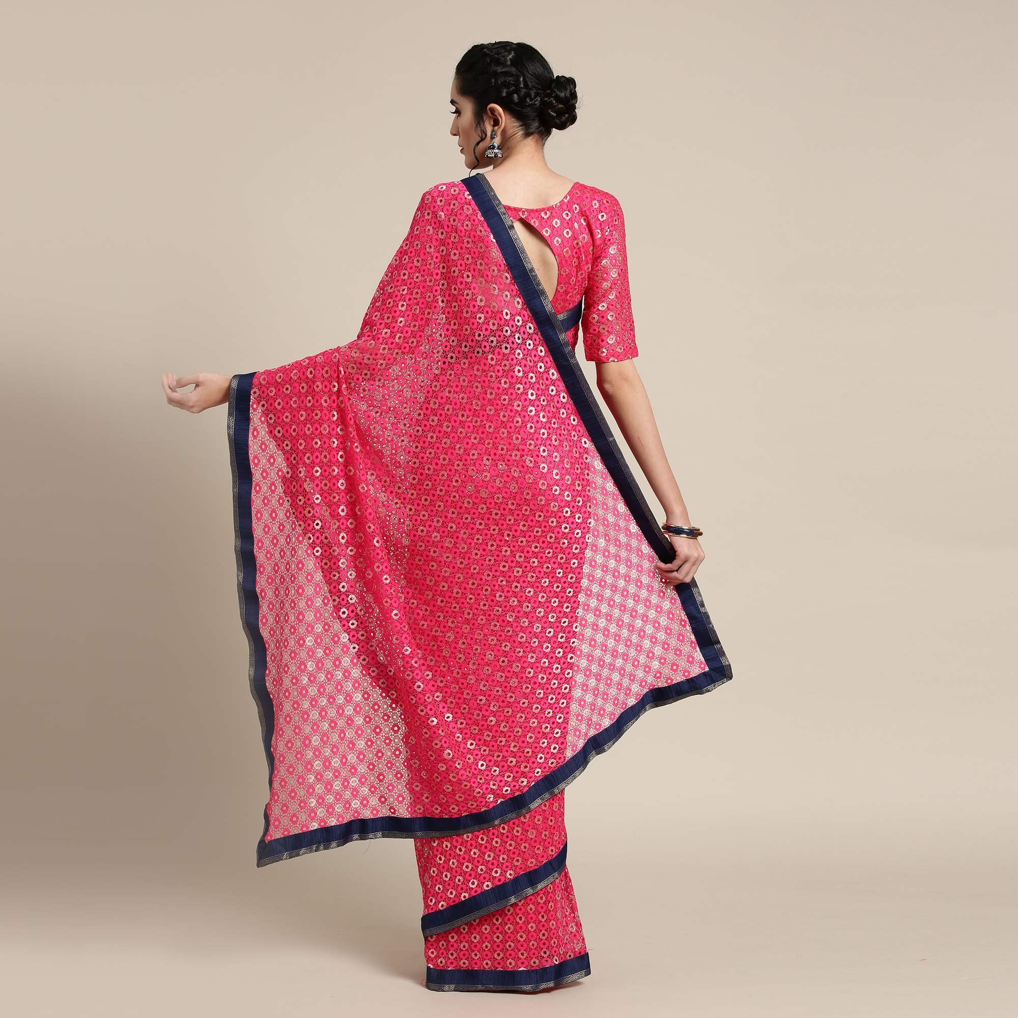 Captivating Pink Colored Partywear Net-Lycra Saree