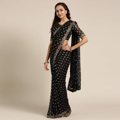 Fantastic Black Colored Partywear Net-Lycra Saree