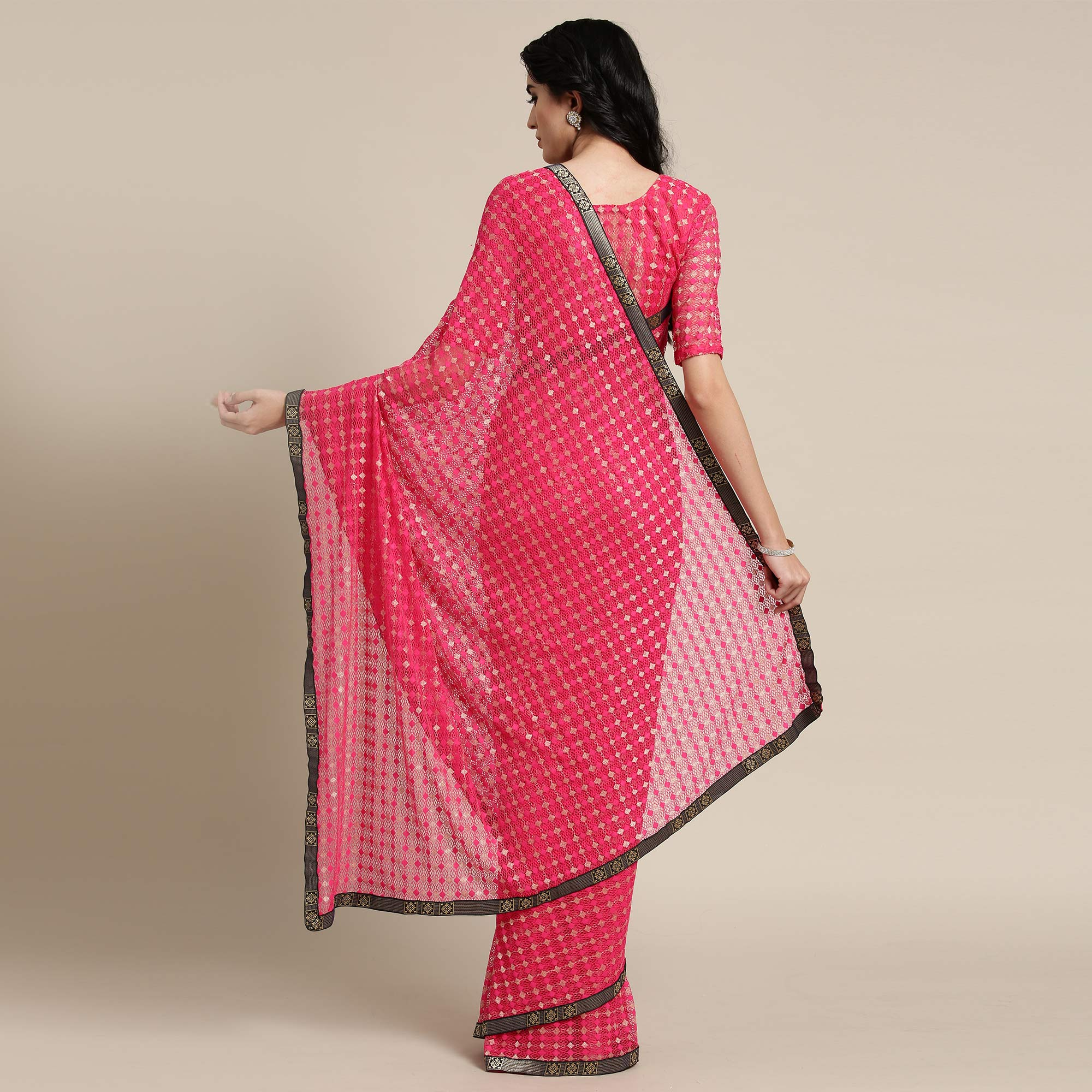 Amazing Pink Colored Partywear Net-Lycra Saree